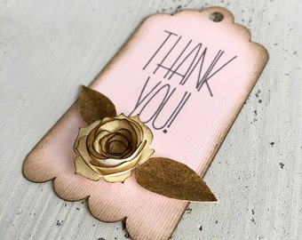 Customizable rose thank you tags (set of 12)