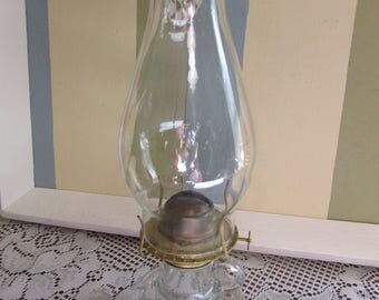 Eagle Clear Glass Kerosene Oil Lamp VINTAGE Antique VTG collector of lamp Made In U.S.A. Eagle oil lamp