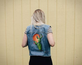 Denim cactus painted vest