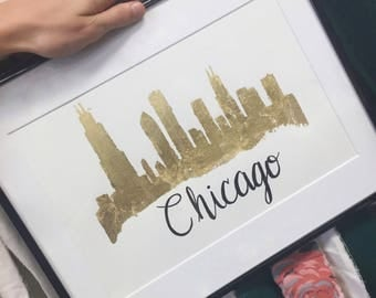 Gold Leaf Chicago Skyline (Handmade)