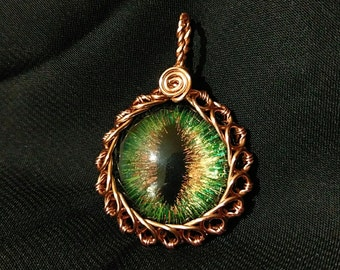 Hazel Hand-Painted Dragon Eye Pendant w/Copper Wire Wrap (with Necklace)