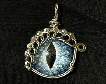 Ice Blue Hand-Painted Dragon Eye Pendant w/Silver Beaded Wire Wrap (with Necklace)