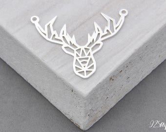 925 Sterling Silver deer, deer Pendant, Silver deer, Small deer, deer, stag, hart, stag silver, stag pendant, hart silver, hart pendant,