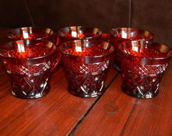 Vintage Ruby Red Cape Cod Coffee Cups / Teacups Set of 6