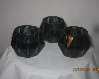 Emerald Evening~Glass~Candle Holder~Votive & Taper    Set of 3