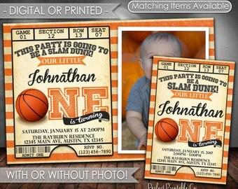 Basketball Birthday Invitation, Basketball Invitation, Basketball Invite, Basketball Birthday Party Invitation, Digital File or Printed #547