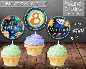 Outer Space Cupcake Toppers, Planet Cupcake Toppers, Solar System Cupcake Toppers, Birthday Party, Instant Download, Editable #584