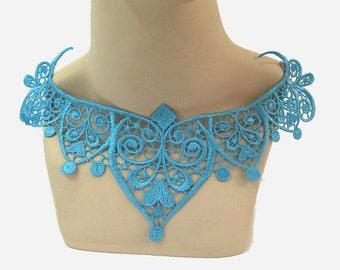 Blue Lace Applique, Tiara Shape Lace Applique, Blue Lace Motif, Tutu Decoration, Blue Trim, Dance Costume Trim, #28