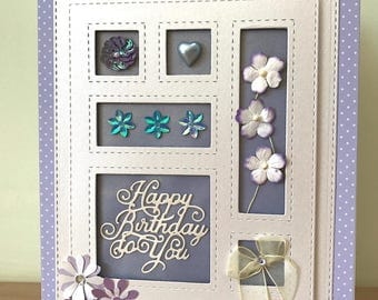 Happy Birthday Card - Handcrafted in a shadow box style using die-cutting and embossed layers - Blank inside - Only 1 Available