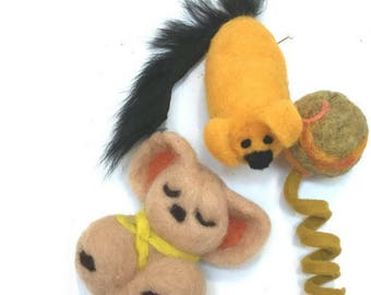 Wool Koala, Piglet and Ball, Needle Felted Ornaments.