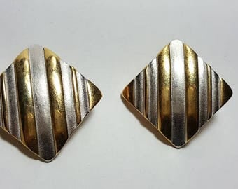 Vintage Designer Signed Erwin Pearl PEP Clip on Twotone Earrings/Gold Silver Earrings on Clip/Costume Jewelry Earrings/Vintage Jewelry