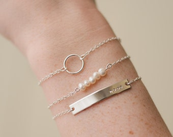 Sterling Silver Stacking Bracelets, Personalized, Custom Braclet