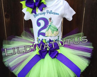 Handmade Tiana tutu set / Princess and the frog tutu set / Princess Tiana tutu set / Tiana birthday outfit / Tiana birthday shirt