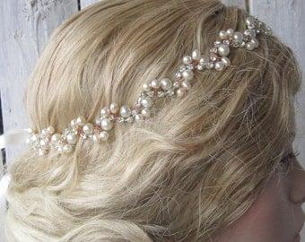 Wedding Headband/ Pearl bridal headband,Rhinestones headband, Bridal Accessories