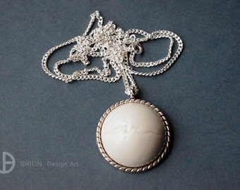 Necklace love, porcelain, glazed, 60cm Silver 925 / antique silver