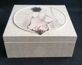 Handmade Decoupage Vintage Wooden Box