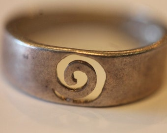 Vintage sterling silver open work swirl top band ring size 7.5