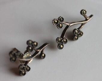 Vintage sterling silver marcasite flowing flower earrings posts