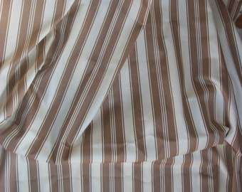 Coffee and Cream Striped Cotton Sateen Fabric BTY