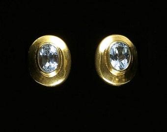 Aquamarine 9ct Yellow Gold Stud Earrings 1.60ct of Aquamarine