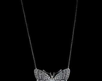 Antique Victorian Paste Butterfly Pendant Necklace Silver Emerald Eyes
