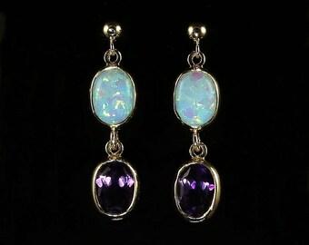 Opal Amethyst Gold Earrings