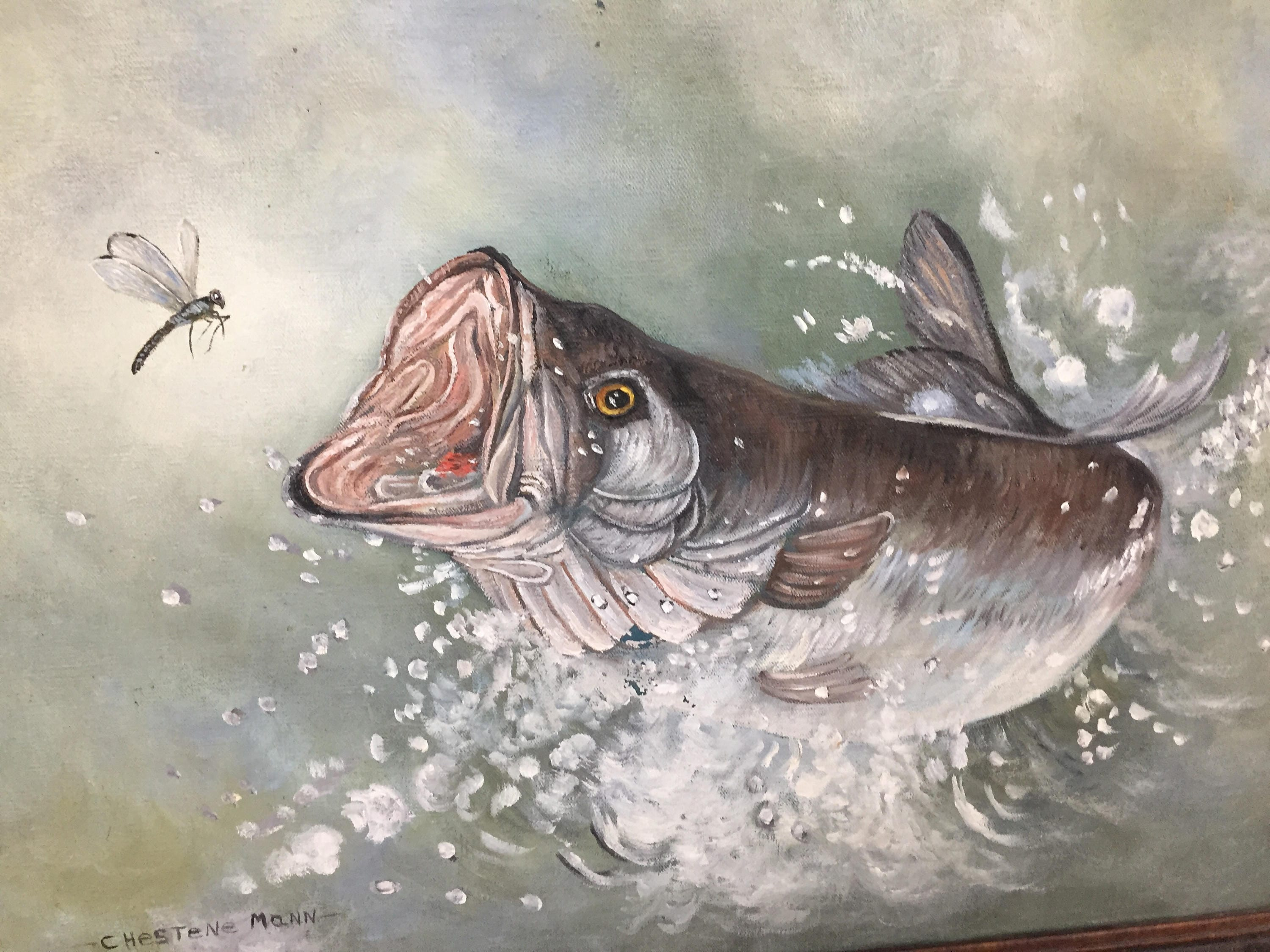 Beautiful oil on canvas painting of a fish jumping out of for Fish out of water watercolor