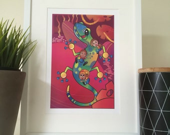 Red and green Gecko Illustration Nursery Print, picture for kid's room, with cute boy and girl charachters, transport art, playroom, bedroom