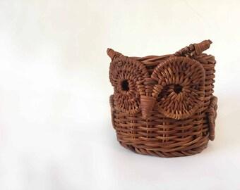 Vintage Owl Wicker Owl Mug Bohemian Decor 1970s Owl Decor 1970s Wicker Decor Boho Decor 70s Home Decor 70s Owl Succulent Holder Planter