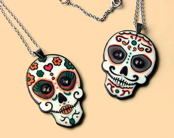 Sugar skull jewelry, Calavera necklace, Halloween pendant, Handmade jewelry, Day of the dead gift, Dia de los muertos