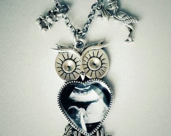 Sonogram owl necklace