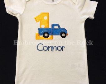 Truck birthday shirt, pick up truck, birthday shirt, 1st birthday, Embroidered, personalized birthday shirt, bodysuit, old truck birthday.