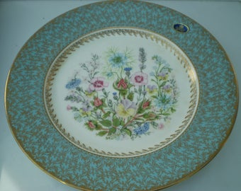 "Aynsley Fine Bone China Plate - Wild Tudor Design - 10.5"" Cake Plate - Boxed - Made in England"