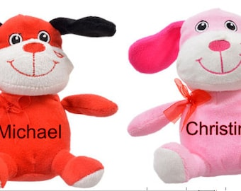 Personalized Valentines Plush Dogs Boy & Girl