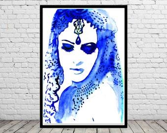 Exotic woman, exotic woman in blue, woman in blue, Fashion Illustration (1982b)