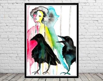 One two tree ravens..., raven, watercolor raven, ravens, ravens print, watercolor print, contemporary art, print(2004b)