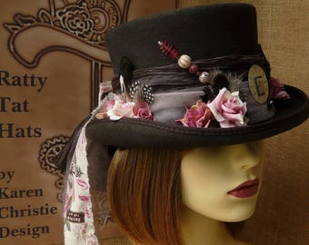 Steampunk Top Hat - Pajaros del Amor Ladies Vintage Topper, Handmade, Vintage, Unique, Derby Day Hat, Mad Hatter Hat, Tea Party Hat.