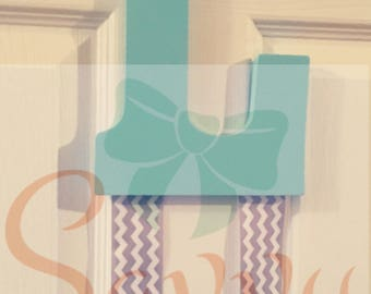 Teal & Gray Chevron Bow Hanger