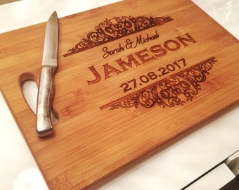 Engraved chopping board Cutting board personalised couple wedding gift custom cutting board custom wedding gift for couple engraved