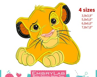 Applique Simba. The Lion King. Machine Embroidery Applique Design. Instant Digital Download (16308)