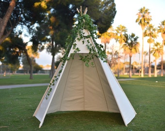 8' Front Open Saguaro Canvas Kids Teepee, Kids Play Tent, Childrens Play House, Tipi,Kids Room Decor