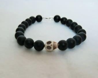 Man bracelet black onyx frostred
