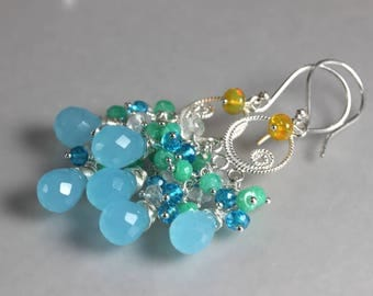 Blue gemstone earrings, aqua blue earrings, mixed gemstone jewelry, bridal summer earrings, blue green stones, gemstone chandelier, teardrop