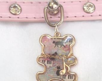 """11.5-13"""" Musical Kitty Buckled Faux Leather Collar"""