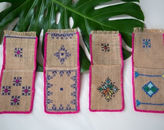 Embroidered Burlap Pouches From Morocco