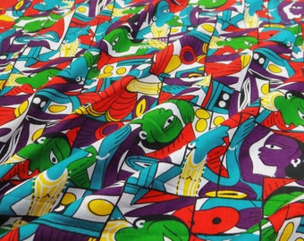 Dressmaking Fabric Cotton Fabric For Sewing Designer Multicolor 100%cotton sewing fabric tribal printing for woman dress by 1 yard ZBC6483
