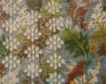 """Blue Fabric, Decorative Fabric, Leaf Print, Quilt Fabric, Home Accessories, 41"""" Inch Cotton Fabric By The Yard ZBC7686A"""