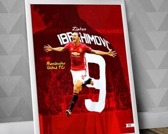 Zlatan Ibrahimovic / Manchester United FC / Illustration Poster Print / Football art / Soccer art / MUFC / England / Sweden / Red Devils