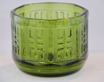 SALE! Mid Century Green Glass Bowl