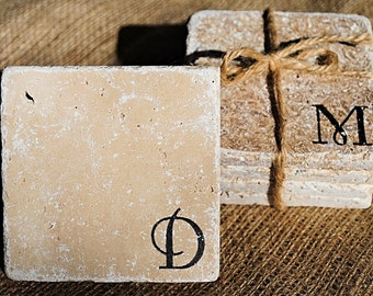 Monogrammed Coaster, Monogrammed Home Decor, White Elephant Gift, Christmas Gift, Personalized Gift, Personalized Coaster, Set of 4 Coasters